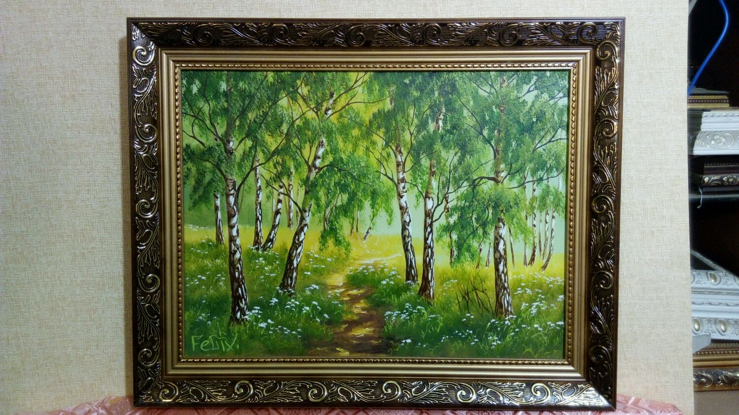 Oil on Canvas painting in baguette size 50h40, Pictures, Maloyaroslavets,  Фото №1