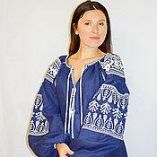 Одежда ручной работы. Ярмарка Мастеров - ручная работа Платье синее, вышиванка лен, этно, стиль бохо шик, стиль Вита Кин. Handmade.