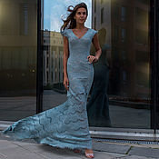 Одежда handmade. Livemaster - original item Lace dress mermaid color cool mint long dress with sleeve. Handmade.
