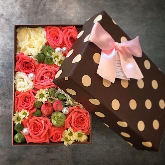 """Букеты ручной работы. Ярмарка Мастеров - ручная работа. Купить Коробочка с цветами """"Горошек"""". Handmade. Цветы, цветы в коробке, букет"""