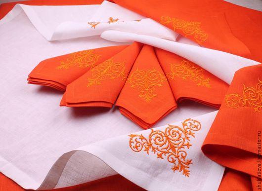 """Текстиль, ковры ручной работы. Ярмарка Мастеров - ручная работа. Купить Комплект столового белья """"Янтарь"""". Handmade. Оранжевый"""