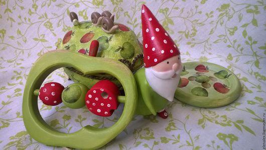 """Подарки для новорожденных, ручной работы. Ярмарка Мастеров - ручная работа. Купить Набор """"Гном"""". Handmade. Подарок на крестины, погремушка, гномик"""