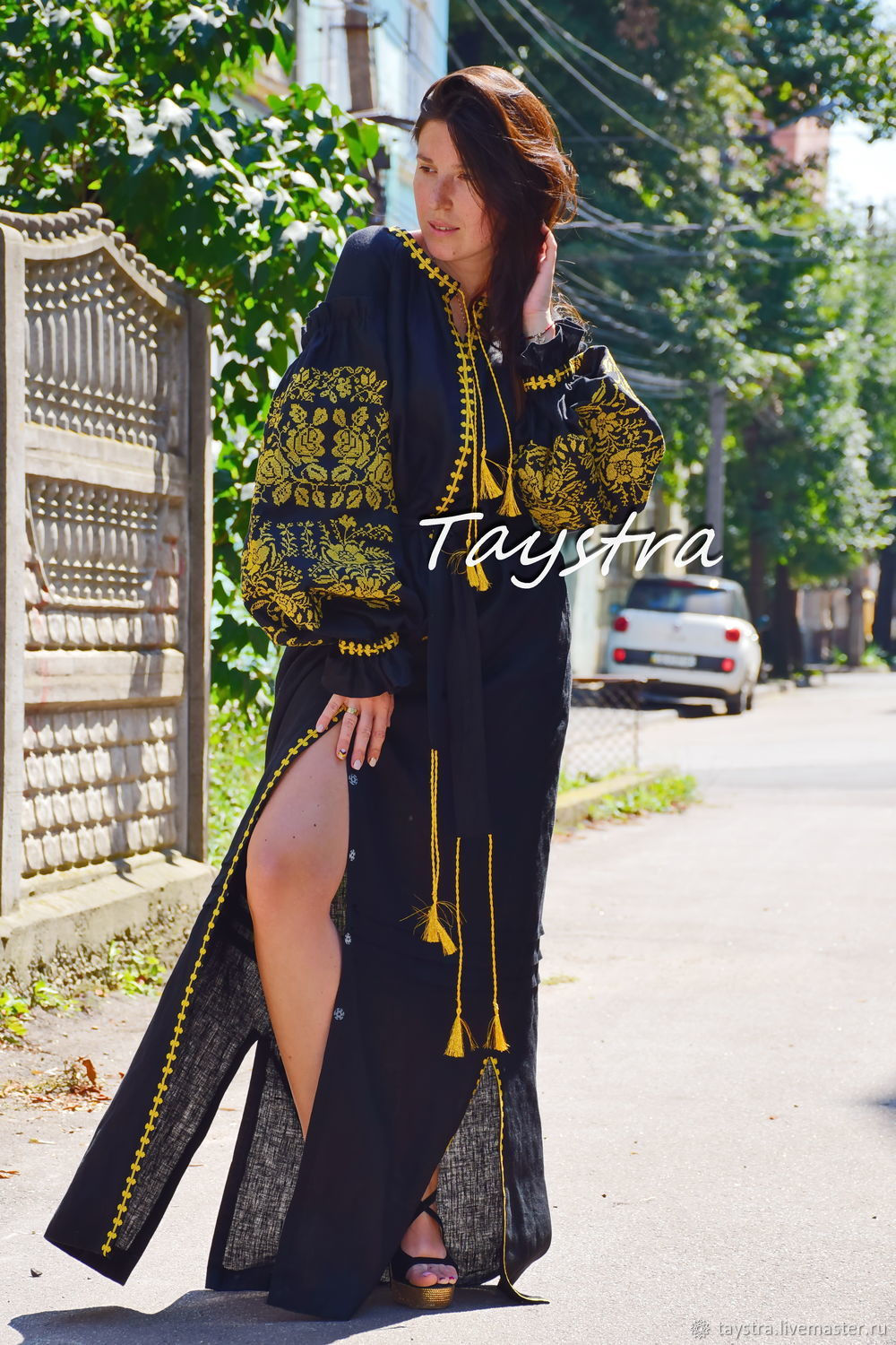 Back Dress Embroidered with Gold, Dresses, Chernovtsy,  Фото №1