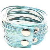 Украшения handmade. Livemaster - original item Women`s leather bracelet. Strings. blue. WIDE.. Handmade.