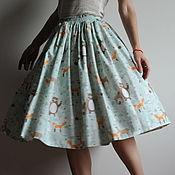 """Одежда ручной работы. Ярмарка Мастеров - ручная работа Хлопковая юбка из ткани с рисунком """"лесные звери"""". Handmade."""