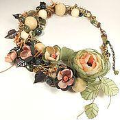 Украшения handmade. Livemaster - original item The Uneven Breath Of Spring. Necklace, brooch flower, fabric flowers. Handmade.