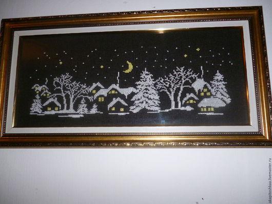 Пейзаж ручной работы. Ярмарка Мастеров - ручная работа. Купить Картина ЗИМА. Handmade. Черный, пейзаж зима, канва чёрная