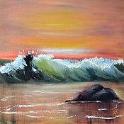 Картины и панно ручной работы. Ярмарка Мастеров - ручная работа Картина маслом Закат у моря. Handmade.