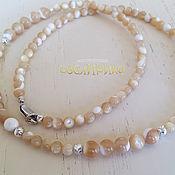 Украшения handmade. Livemaster - original item Beads Natural Mother Of Pearl Silver. Handmade.