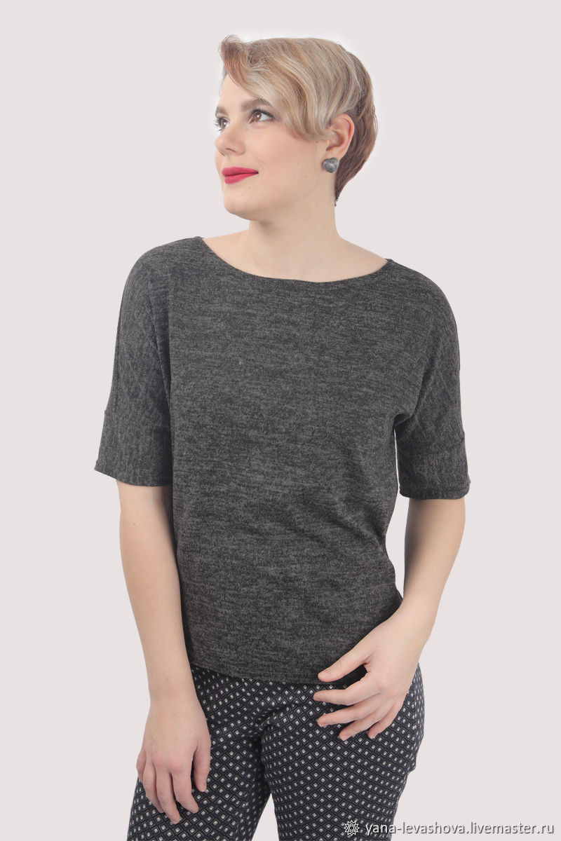 Grey melange t-shirt with a little down, Jumpers, Moscow,  Фото №1