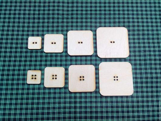 IVL-414-3 Пуговица квадратная набор 10 шт с 2-мя отверстиями заготовка для декупажа и творчества   IVL-415-3 Пуговица квадратная с 4- мя отверстиями набор 10 шт заготов