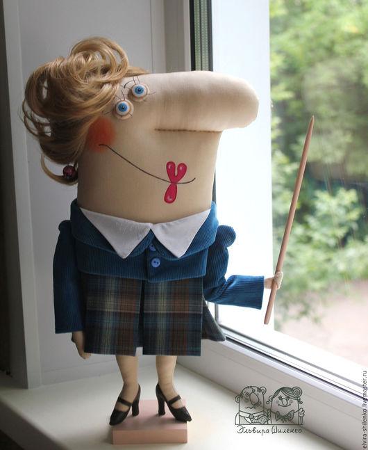 Коллекционные куклы ручной работы. Ярмарка Мастеров - ручная работа. Купить Учительница первая моя. Handmade. Синий, шарж, хлопок