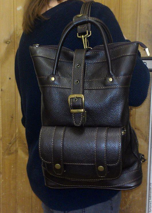 Рюкзаки ручной работы. Ярмарка Мастеров - ручная работа. Купить Рюкзак-сумка 62. Handmade. Коричневый, рюкзак из кожи