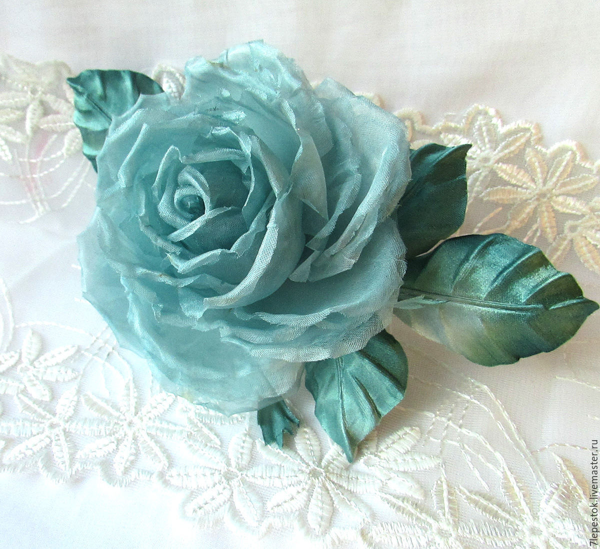 Brooch rose fresh mint morning silk flowers shop online on brooch handmade rose fresh mint morning the flowers of silk be happy mightylinksfo Images
