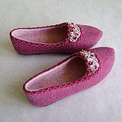 Обувь ручной работы. Ярмарка Мастеров - ручная работа Тапочки Розовый сад. Handmade.