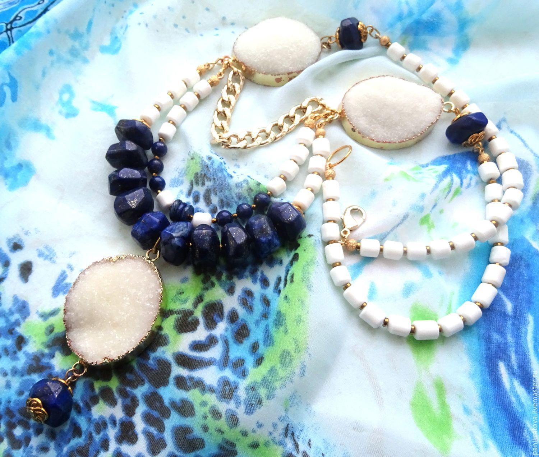 necklace 'santorini' (lapis lazuli, agate, aragonite), Necklace, Moscow,  Фото №1