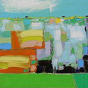 """Картины и панно ручной работы. Ярмарка Мастеров - ручная работа """"Июльское утро"""" 85х50 картина маслом мастихином пейзаж. Handmade."""