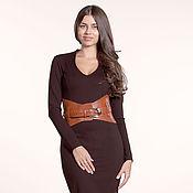 Одежда ручной работы. Ярмарка Мастеров - ручная работа 143:Платье коричневое офисное, платье из джерси, платье повседневное. Handmade.