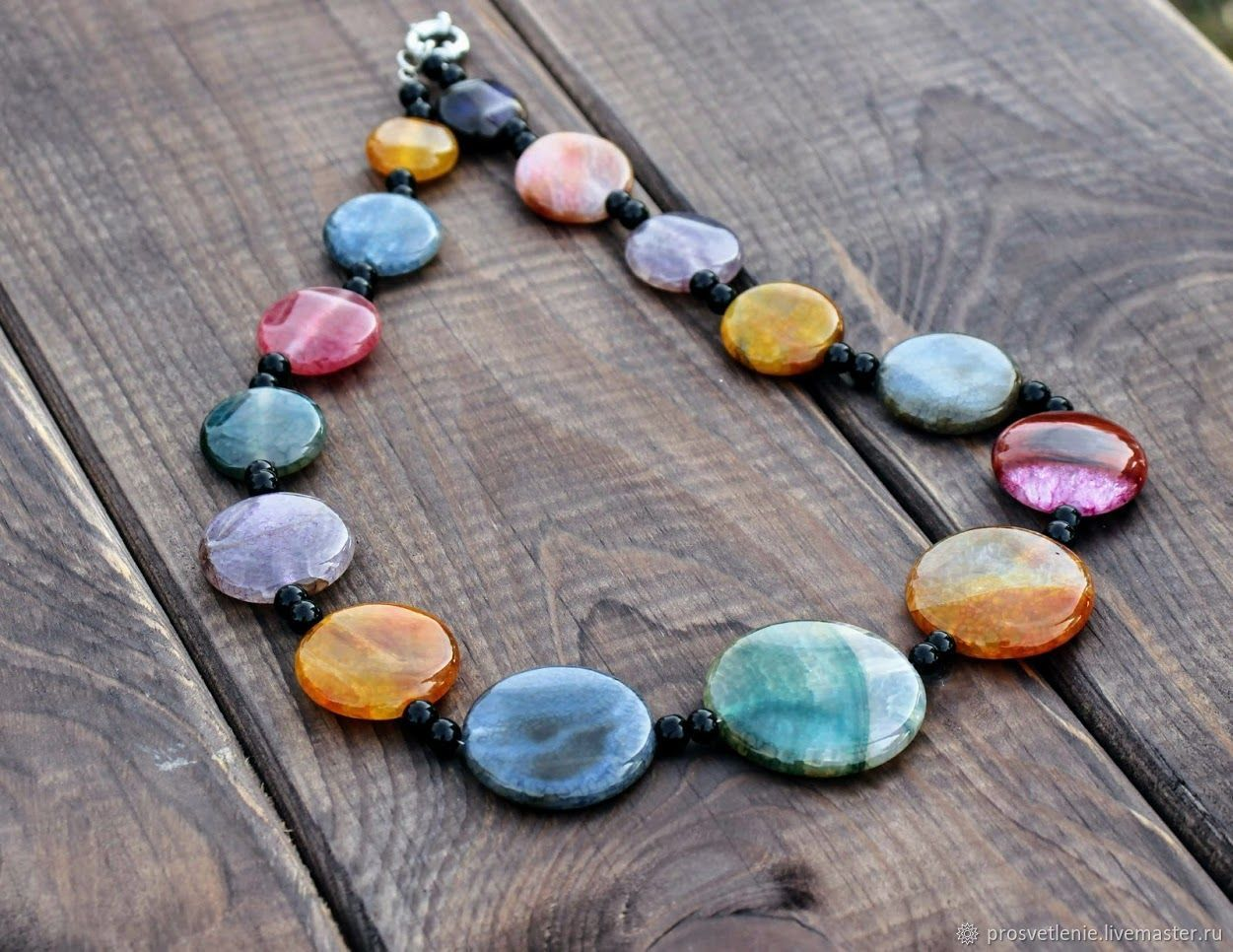 Bright necklace made of natural stones. Decoration Svetlana Boiko Voronezh. Necklace handmade. Stylish necklace decoration gift. Massive necklace with natural stone agate. NECKLACE of large stones