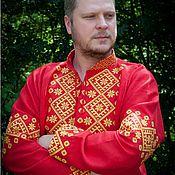 Русский стиль ручной работы. Ярмарка Мастеров - ручная работа Рубаха АЛАТЫРЬ (красно-жёлтая). Handmade.