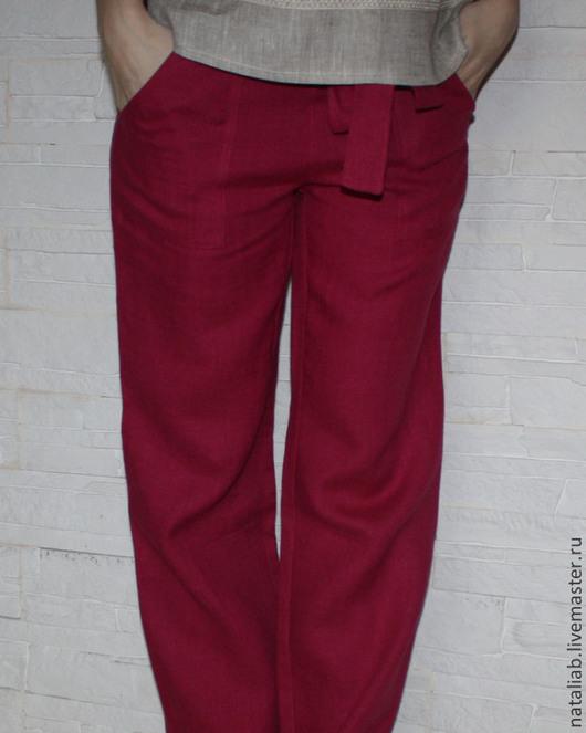 "Брюки, шорты ручной работы. Ярмарка Мастеров - ручная работа. Купить Льняные брюки ""Вишневые"". Handmade. Фуксия, льняные изделия"