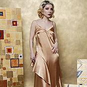 Одежда handmade. Livemaster - original item Evening dress with flounced satin gold. Handmade.