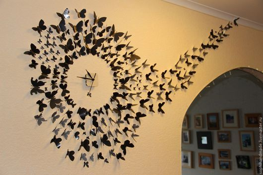 Часы для дома ручной работы. Ярмарка Мастеров - ручная работа. Купить Часы-бабочки. Handmade. Черный, большие часы, бабочки