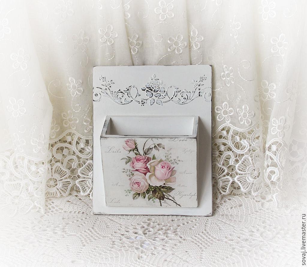 Box pocket shabby chic for small ' Roses', Storage Box, ,  Фото №1