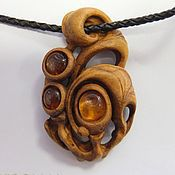 Украшения handmade. Livemaster - original item Wood pendants with amber. Handmade.