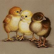 Картины и панно ручной работы. Ярмарка Мастеров - ручная работа Картина пастелью Цыплята. Handmade.