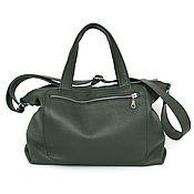 Сумки и аксессуары handmade. Livemaster - original item Green leather padded Bag with shoulder strap and handles. Handmade.