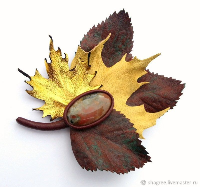 8c3c3d47d35 Brooches handmade. Livemaster - handmade. Buy Brooch leather a Bouquet of  autumn leaves with ...