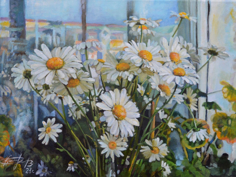Белые ромашки. Картина маслом на холсте. Цветы. Букет, Картины, Череповец,  Фото №1