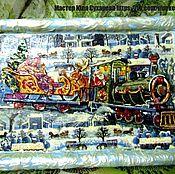 Картины и панно ручной работы. Ярмарка Мастеров - ручная работа Интерьерное панно Поезд Деда Мороза. Handmade.
