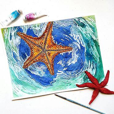 Картины и панно ручной работы. Ярмарка Мастеров - ручная работа Морская звезда акварель. Handmade.