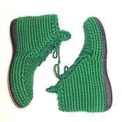 Обувь ручной работы handmade. Livemaster - original item Knitted boots, green cotton, p. .40. Handmade.