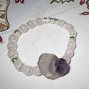 Украшения handmade. Livemaster - original item Beautiful bracelet with big Fluorite and Rose quartz. Handmade.