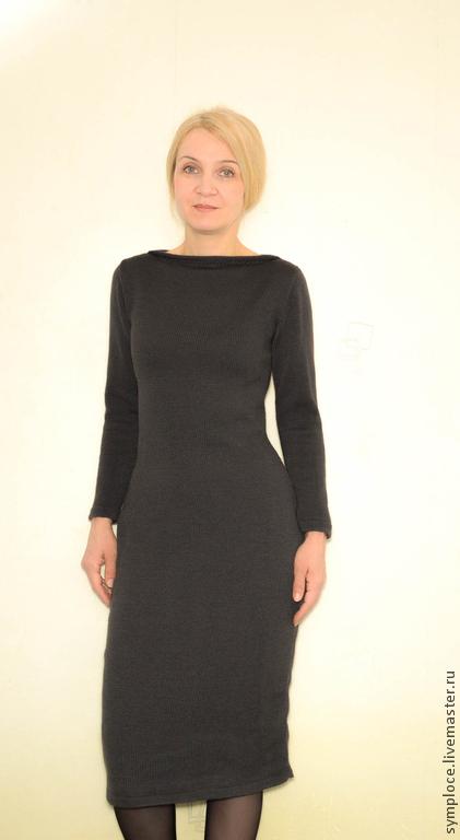 Платья ручной работы. Ярмарка Мастеров - ручная работа. Купить Платье-футляр вязаное полушерстяное. Handmade. Темно-серый
