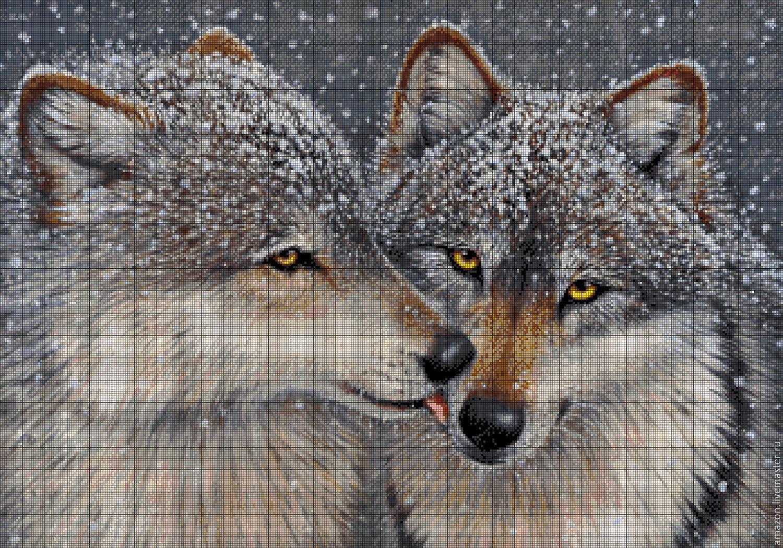 Вышивка пары волков бесплатные схемы