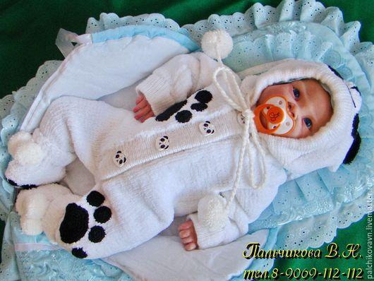 Одежда ручной работы. Ярмарка Мастеров - ручная работа. Купить Комбинезон новорожденному. Handmade. Белый, медвежонок, комплект, новорожденному мальчику