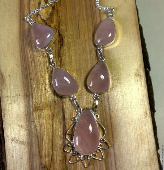 Кулоны, подвески ручной работы. Ярмарка Мастеров - ручная работа. Купить Колье с натуральным Розовым Кварцем в серебре. Handmade.