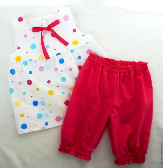 Одежда для девочек, ручной работы. Ярмарка Мастеров - ручная работа. Купить Комплект  летний детский с конфетти. Handmade. В горошек