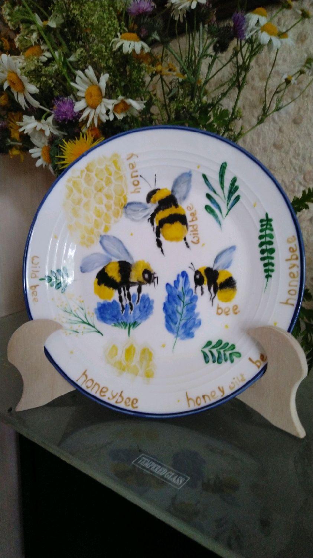 Роспись посуды, фарфора, керамика, тарелка wild bee, Детская посуда, Санкт-Петербург,  Фото №1