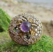 Украшения handmade. Livemaster - original item Oriental Style Ring with Amethyst Cabochon, Silver 925, Gold plated!. Handmade.