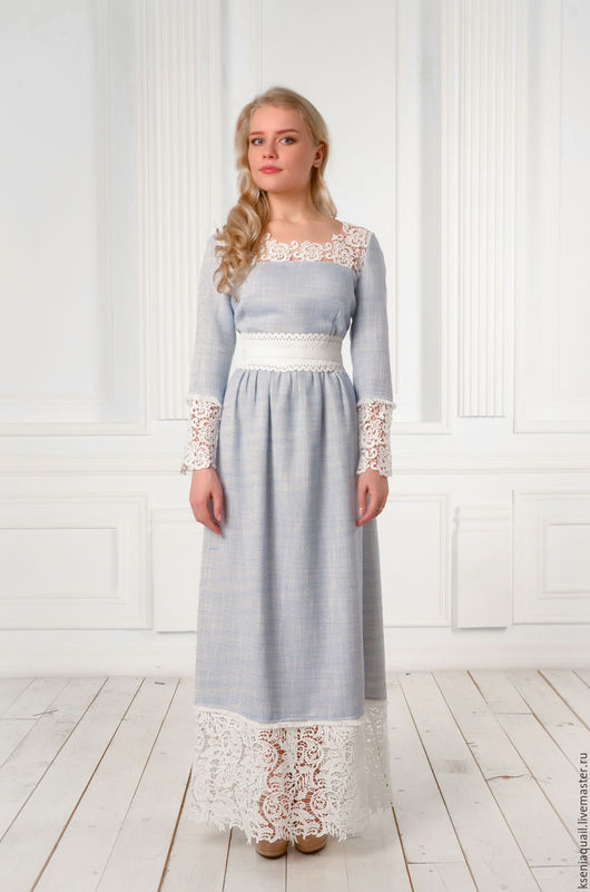 """Платья ручной работы. Ярмарка Мастеров - ручная работа. Купить Платье """"Любавушка"""" макси длина голубое. Handmade. Голубой"""