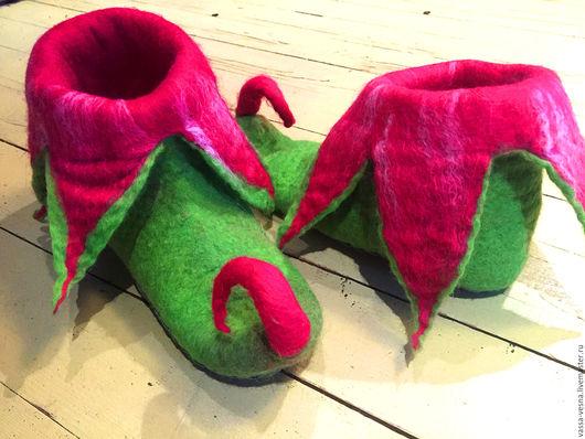 Обувь ручной работы. Ярмарка Мастеров - ручная работа. Купить Эльфы. Handmade. Фуксия, эльфы, цветные тапочки, кожа натуральная