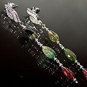 """Украшения ручной работы. Ярмарка Мастеров - ручная работа Длинные серьги из натуральных турмалинов """"Турмалиновый рай"""". Handmade."""