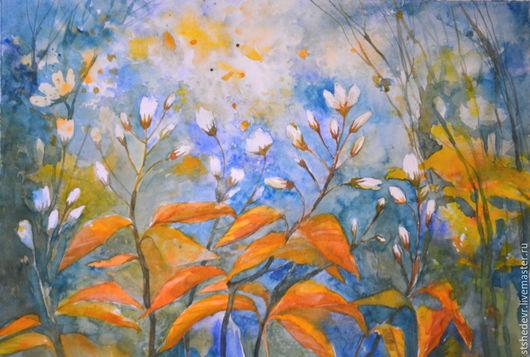 """Картины цветов ручной работы. Ярмарка Мастеров - ручная работа. Купить Акварельная картина """" Нежность утра"""". Handmade. Бирюзовый"""