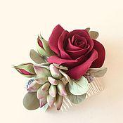 Свадебный салон handmade. Livemaster - original item Hair comb with big dark red rose.. Handmade.