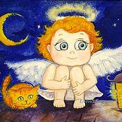 """Картины и панно ручной работы. Ярмарка Мастеров - ручная работа Картина в детскую """"Ангел. Хранитель снов"""" синий оранжевый. Handmade."""